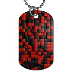 Black Red Tiles Checkerboard Dog Tag (two Sides) by BangZart