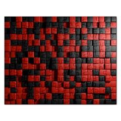 Black Red Tiles Checkerboard Rectangular Jigsaw Puzzl