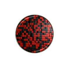 Black Red Tiles Checkerboard Hat Clip Ball Marker (4 Pack)