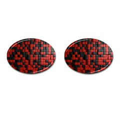 Black Red Tiles Checkerboard Cufflinks (oval)