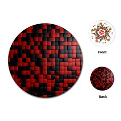Black Red Tiles Checkerboard Playing Cards (round)