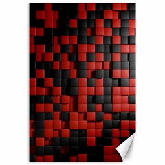 Black Red Tiles Checkerboard Canvas 24  X 36  by BangZart