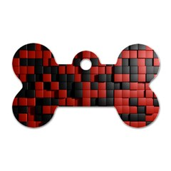 Black Red Tiles Checkerboard Dog Tag Bone (two Sides) by BangZart