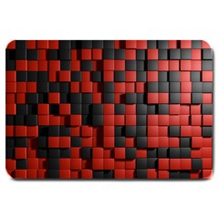 Black Red Tiles Checkerboard Large Doormat  by BangZart