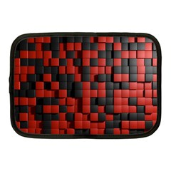 Black Red Tiles Checkerboard Netbook Case (medium)