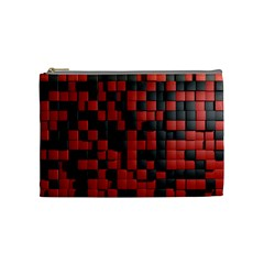 Black Red Tiles Checkerboard Cosmetic Bag (medium)