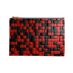 Black Red Tiles Checkerboard Cosmetic Bag (large)  by BangZart