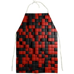Black Red Tiles Checkerboard Full Print Aprons