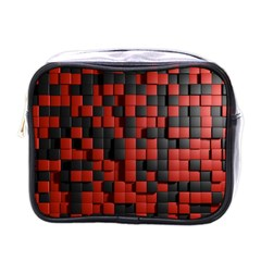 Black Red Tiles Checkerboard Mini Toiletries Bags
