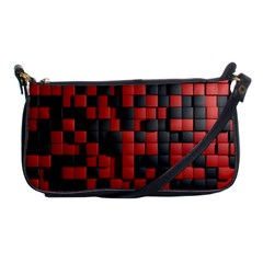 Black Red Tiles Checkerboard Shoulder Clutch Bags by BangZart
