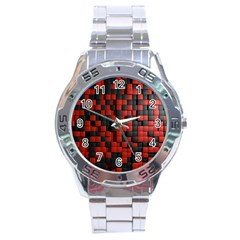 Black Red Tiles Checkerboard Stainless Steel Analogue Watch by BangZart