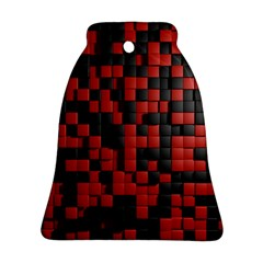 Black Red Tiles Checkerboard Ornament (bell)