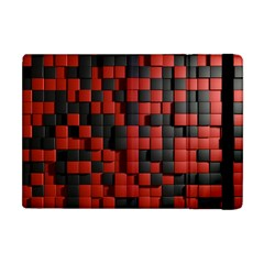 Black Red Tiles Checkerboard Apple Ipad Mini Flip Case by BangZart