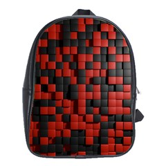 Black Red Tiles Checkerboard School Bags (xl)