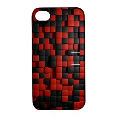 Black Red Tiles Checkerboard Apple Iphone 4/4s Hardshell Case With Stand