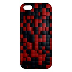 Black Red Tiles Checkerboard Apple Iphone 5 Premium Hardshell Case