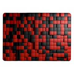 Black Red Tiles Checkerboard Samsung Galaxy Tab 10 1  P7500 Flip Case