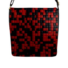 Black Red Tiles Checkerboard Flap Messenger Bag (l)