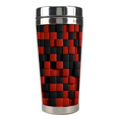 Black Red Tiles Checkerboard Stainless Steel Travel Tumblers by BangZart