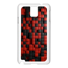 Black Red Tiles Checkerboard Samsung Galaxy Note 3 N9005 Case (white) by BangZart