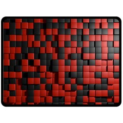 Black Red Tiles Checkerboard Double Sided Fleece Blanket (large)  by BangZart