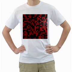 Black Red Tiles Checkerboard Men s T Shirt (white)