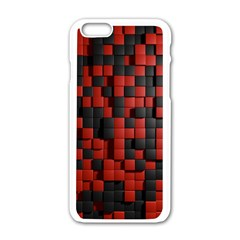 Black Red Tiles Checkerboard Apple Iphone 6/6s White Enamel Case by BangZart