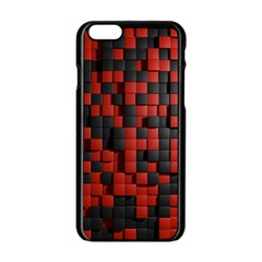 Black Red Tiles Checkerboard Apple Iphone 6/6s Black Enamel Case by BangZart