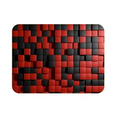 Black Red Tiles Checkerboard Double Sided Flano Blanket (mini)  by BangZart
