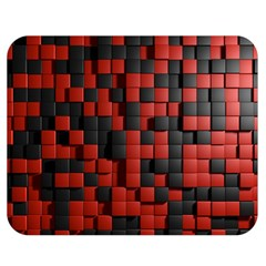 Black Red Tiles Checkerboard Double Sided Flano Blanket (medium)