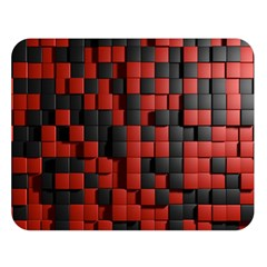 Black Red Tiles Checkerboard Double Sided Flano Blanket (large)  by BangZart