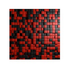 Black Red Tiles Checkerboard Small Satin Scarf (square) by BangZart