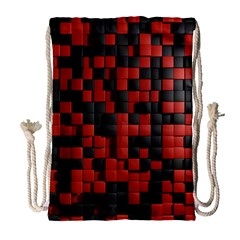 Black Red Tiles Checkerboard Drawstring Bag (large) by BangZart