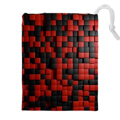 Black Red Tiles Checkerboard Drawstring Pouches (xxl)