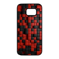 Black Red Tiles Checkerboard Samsung Galaxy S7 Edge Black Seamless Case