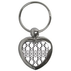 Pattern Background Texture Black Key Chains (heart)  by BangZart