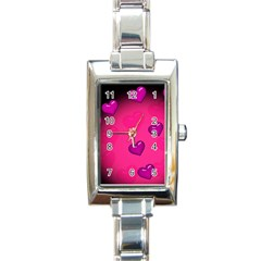 Background Heart Valentine S Day Rectangle Italian Charm Watch