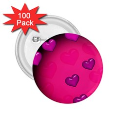 Background Heart Valentine S Day 2 25  Buttons (100 Pack)