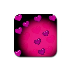 Background Heart Valentine S Day Rubber Square Coaster (4 Pack)