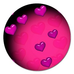 Background Heart Valentine S Day Magnet 5  (round) by BangZart