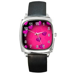Background Heart Valentine S Day Square Metal Watch by BangZart