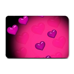 Background Heart Valentine S Day Small Doormat  by BangZart