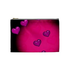 Background Heart Valentine S Day Cosmetic Bag (medium)  by BangZart