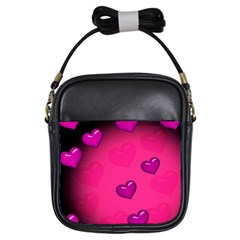 Background Heart Valentine S Day Girls Sling Bags by BangZart