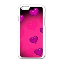 Background Heart Valentine S Day Apple Iphone 6/6s White Enamel Case