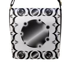 Metal Circle Background Ring Flap Messenger Bag (l)