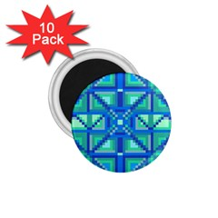 Grid Geometric Pattern Colorful 1 75  Magnets (10 Pack)