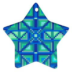 Grid Geometric Pattern Colorful Star Ornament (two Sides) by BangZart