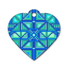 Grid Geometric Pattern Colorful Dog Tag Heart (two Sides)