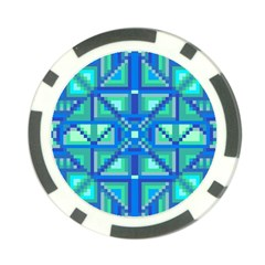 Grid Geometric Pattern Colorful Poker Chip Card Guard